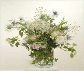 English Garden flower arrangement - seasonal flowers in glass vase