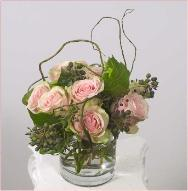 Rose design with curly willow, glass vase fits on desktop