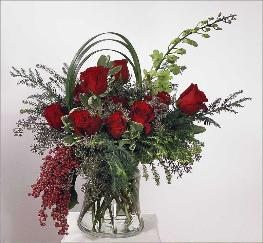 dramatic sweep of roses delivered to Greenbrae, Tiburon, Ross