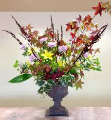 5' tall floral arrangement in metal urn Smith Ranch San Rafael